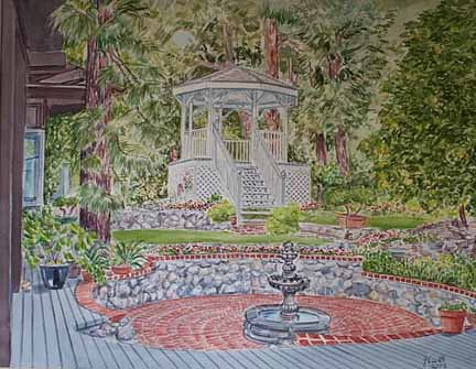 Altadena, CA-Gazebo Garden, Watercolor