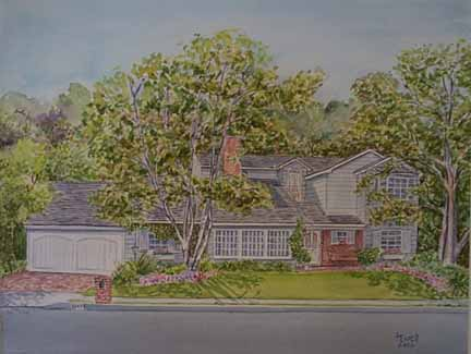 Sherman Oaks, CA-Ranch House, Watercolor
