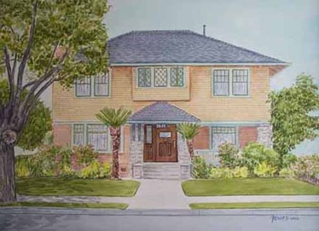 Los Angeles, CA-Victorian House, Watercolor
